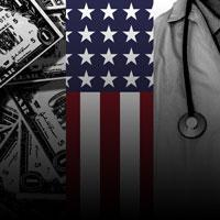 U.S. flag with economy and healthcare imagery