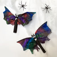 crafted bats and plastic spiders