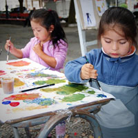 two girls painting outdoors