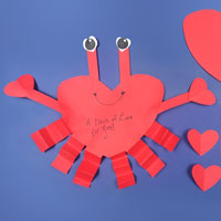 heart-shaped red paper crab