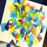 tissue paper paintings and art supplies